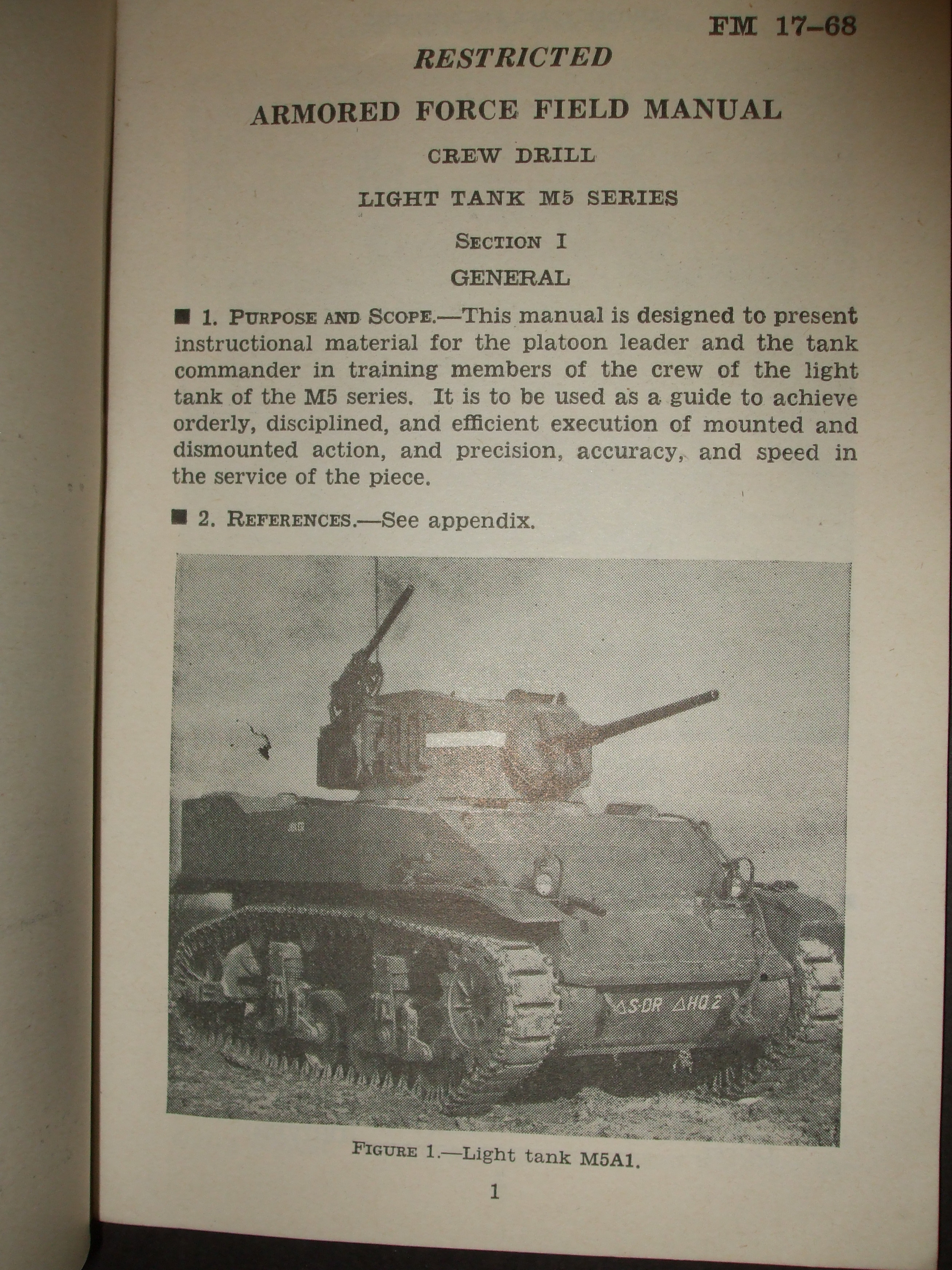 FM 17-68, WD AFFM, Crew Drill, Light Tank M5 Series : 1943